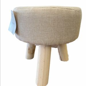 Burlap Wooden Legs Foot Stool